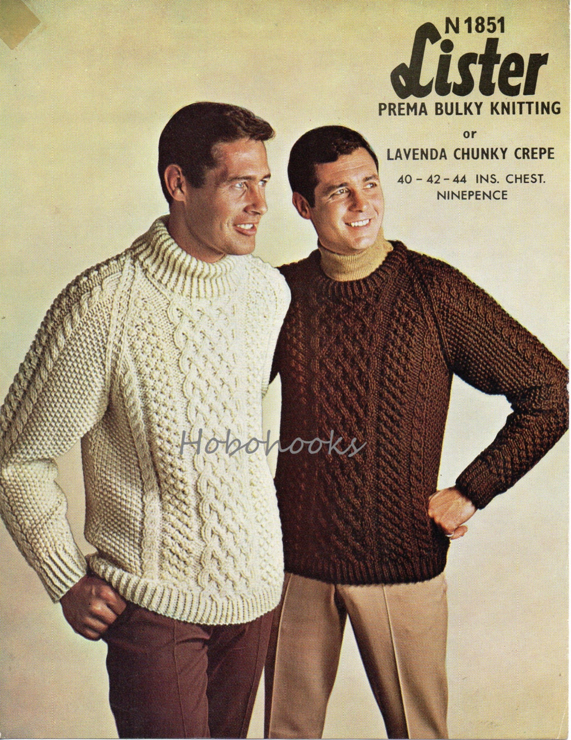 mens chunky cable sweater knitting pattern 1960s crew neck