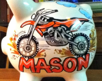 Personalized Piggy Bank Dirt Bike Design Handpainted Bank