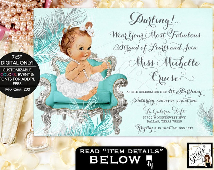 First Birthday Invitation Girl, gray and Turquoise blue, silver white birthday invites, pearls bows ribbons tutus, DIGITAL 7x5 Gvites.