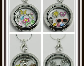Season Floating Charms and Glass Locket / Floating Locket / Memory Locket with Chain / Complete Locket Set