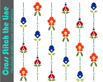 Modern retro cross stitch pattern. Original contemporary floral design inspired by textile patterns.