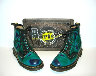 Hold~Uk 6~Very Rare Acid Trip Tie Dye Three Colors Leather 1460 Doc Martens- made in England-size 6 UK = 6.5 US Mens = size 8 US womens