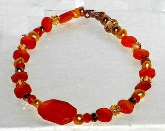 Faceleted Orange Carnelian Crystal Freshwater Pearl Gold Filled Bracelet