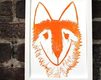 fox print linocut poster hand printed original art woodland print fox art
