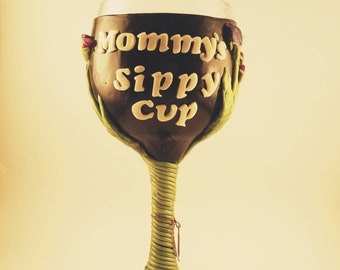 Mommy's Sippy Cup Polymer Clay wine glass {letters glow in the dark}