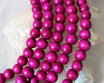 8mm beads, round beads, wood beads, magenta beads, pink beads, purple beads, bracelet beads,