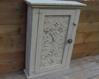 Captivating Distressed French Country Essential Oil Medicine Cabinet, With Authentic  Metal Tin Door, French Country