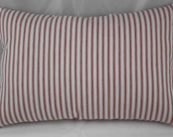 Pillow Red and Off White Striped Timeless Ticking 14 x 9 inches