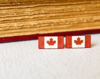 Canadian Flag Studs, Laser Cut Acrylic Earrings, Canada Pride Canadiana, National Symbol, Red White Earrings, Canada Day Jewelry