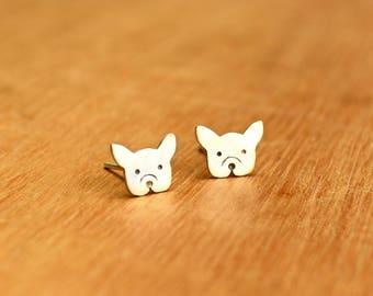 French bulldog- Stud dog Earrings- Sterling Silver - dog lover gift