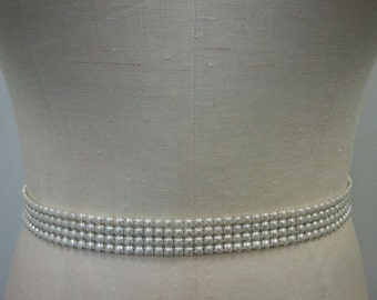 Wedding Belt, Bridal Belt, Sash Belt,  4 Rows of Ivory/Off White Pearl Belt - Style B166