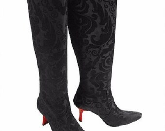 Damask Black Knee High Pointy Toe Boots