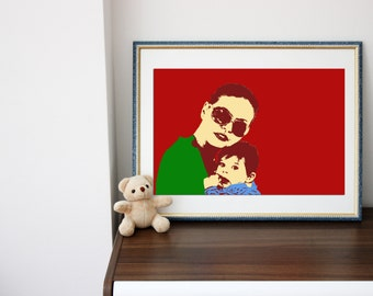 Pop Art inspired portrait for your Family. Custom made in digital file just for you