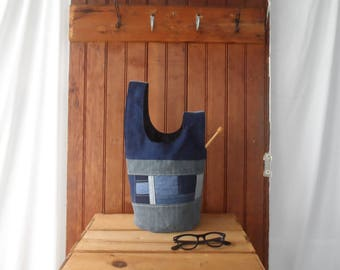 Knot Bag - recycled fabric denim knitter pouch small project bag gift for knitters yarn bag