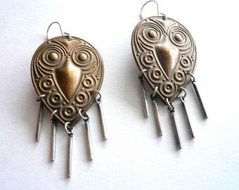 Boho fringe earrings. Gypsy earrings. Statement earrings with vintage steel bar fringe on new sterling silver earwires.