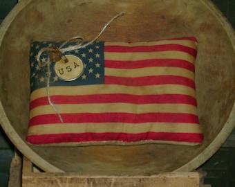 Handmade Primitive Americana Flag Bowl Filler or Hanger
