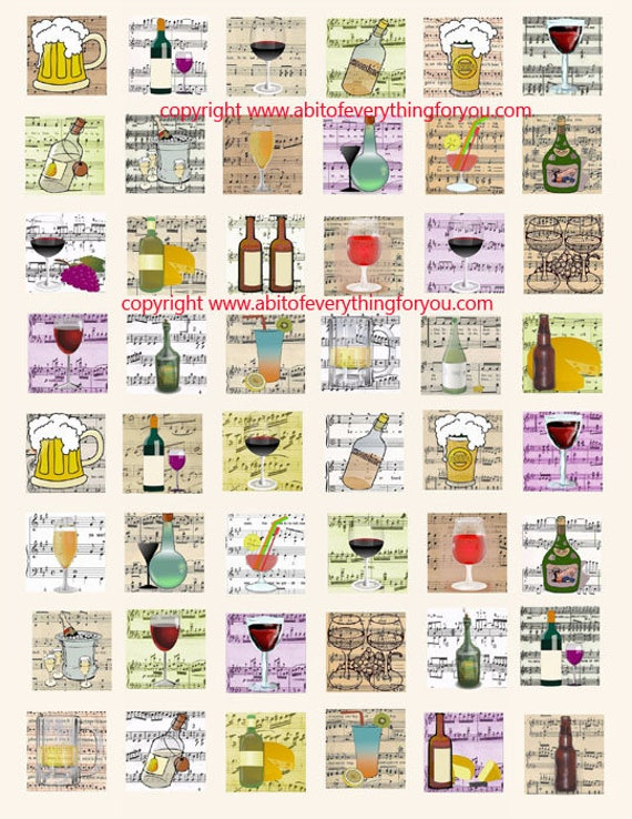 alcohol booze drinks clip art digital download collage sheet 1 inch squares party sheet music graphics images printables pendants pins