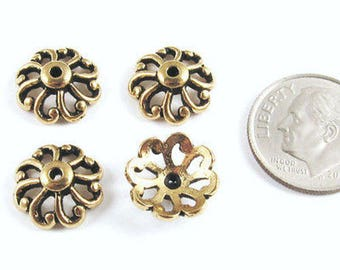 TierraCast Pewter Bead Caps-Gold Open Scalloped 12mm (4)