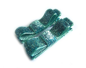 Aqua Blue Hair Clips Aqua Hair Clips Glitter Hair Clips Sparkly Hair Clips Aqua Blue Tuxedo Bows Aqua Tuxedo Bows Baby Girl Hair Clips Baby