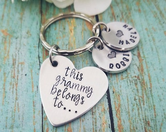 This Grandma Belongs to Personalized Keychain Personalized Grandma Gift Custom Grammy Mimi Nana Gift Grandmother Gift Children's Names