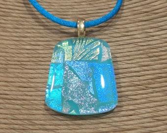 Aqua Blue Dichroic Fused Glass Pendant, Omega Slide, One of a Kind Fused Glass Jewelry - Annamarie - 4582 -4