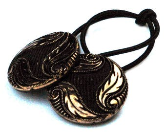 Black and Burnished Gold Ponytail Holder made from Vintage Czech Glass Buttons, Decorative Hair Elastic Ties, Glass Hair Accessory