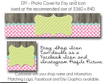 DIY Etsy Cover Photo - Add your own Text, Instant Download, Candy Store, New Cover Photo For Etsy, Made to Match Graphics
