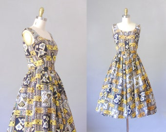 Island Paradise | vintage 1950s  dress | novelty print sundress
