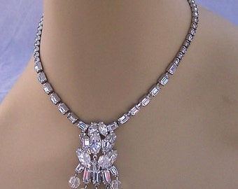 Vintage 1950's Weisner Signed Set Necklace and Earrings Incredible Brides adornment  L@@K!