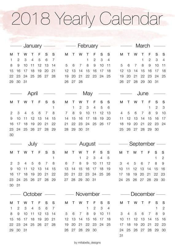 Calendar Monthly Overview : Printable yearly overview calendar