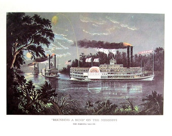 Currier and Ives Print - Rounding the Bend on the Mississippi, The Champions of the Mississippi - 1968 Vintage Book Page - 12 x 9