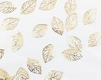 Shiny Gold Open Leaf Charm // Combo Bracket 2 {CG024}