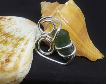 "1"" Green Sea Glass Wire Wrapped Pendant"
