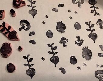 Vegan rubber stamp set//Vegetable stamp set//Food stamp set// hand carved and hand crafted