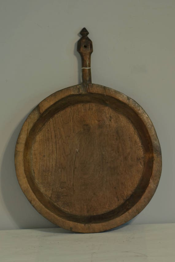 Thailand Large Round Wood Tray Handmade Plate Handle Vintage Food Serving Platter Thailand Round Tray