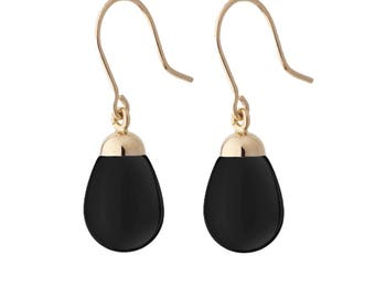 earrings pearshape black and gold