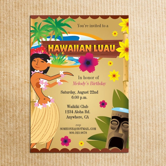 Hawaiian Luau Party Invitation Stationery By