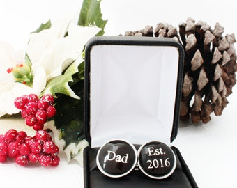 Dad Christmas Gift, For Dad from Daughter, Dad Est Cufflinks, Personalized Gift for Dad, Personalized Cufflinks, Custom Cufflinks for Dad