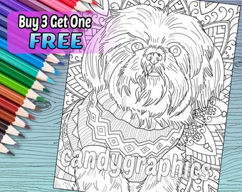 Shih Tzu - Adult Coloring Book Page - Printable Instant Download