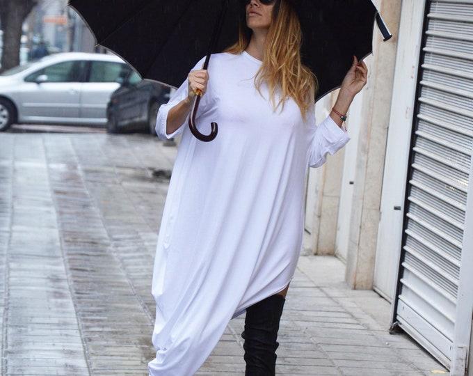 Plus Size Asymmetric Sleeves Dress, Summer White Kaftan, Maxi Cotton Tunic Top, Party Tunic by SSDfashion
