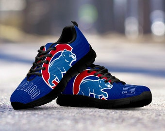 Chicago Cubs Fan Unofficial Custom Black Shoes/Sneakers/Trainers - Ladies + Mens Sizes