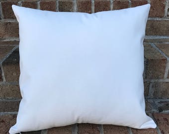 18x18 | Wholesale Pillow Covers | WHITE or NATURAL Canvas Blank | Cotton Canvas Throw Pillow | Perfect For Painting, Embroidery, HTV
