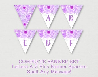 Purple Floral Baby Shower Banner / Floral Baby Shower / Watercolor Floral / Flower Banner / Letters A-Z / Printable INSTANT DOWNLOAD A176