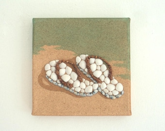Flipflops in Seashell Mosaic on Sand, Beach Artwork with Seashells and Sand, Art Wall Picture of Flipflops, Mosaic Art, 3D Art Collage