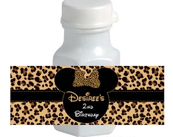 Minnie Mouse mini Bubble Labels - Leopard Cheetah Animal Print