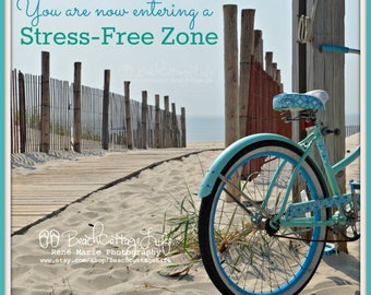 Turquoise Beach Cruiser / Coastal Living Boardwalk Bicycle Seaside Path Fence Quote Bike Art Photography