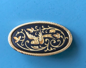 Damascene Bird Pin / Brooch