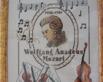 Embroidered and framed picture MOZART