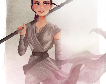 Rey (STAR WARS the Force Awakens) limited edition print, signed by Leann Hill