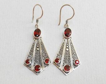 Balinese Sterling Silver genuine garnet gemstone dangle Earrings / silver 925 / Bali  jewelry / 2 inch long